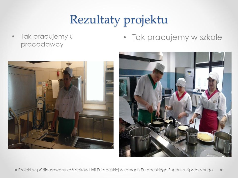 Rezultaty projektu Tak pracujemy w szkole Tak pracujemy u pracodawcy Projekt współfinasowany ze środków Unii Europejskiej w ramach Europejskiego Funduszu Społecznego