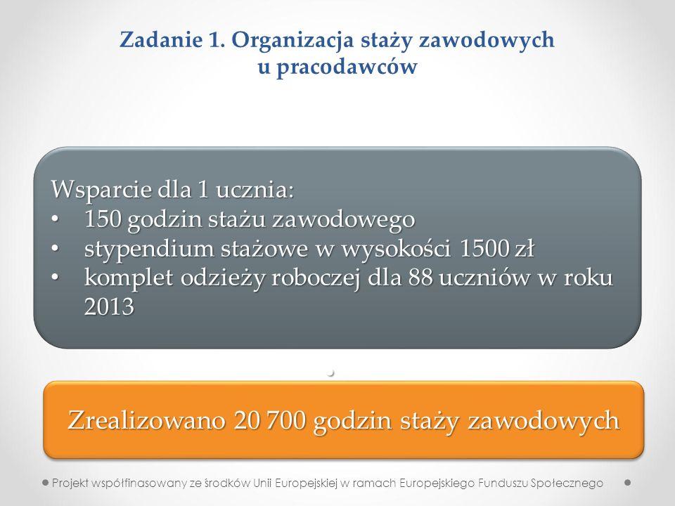 Zadanie 1. Organizacja staży zawodowych u pracodawców Projekt współfinasowany ze środków Unii Europejskiej w ramach Europejskiego Funduszu Społecznego
