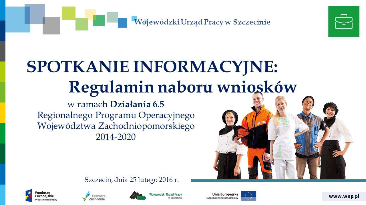 www.wup.pl Wojewódzki Urząd Pracy w Szczecinie SPOTKANIE INFORMACYJNE: Regulamin naboru wniosków w ramach Działania 6.5 Regionalnego Programu Operacyj