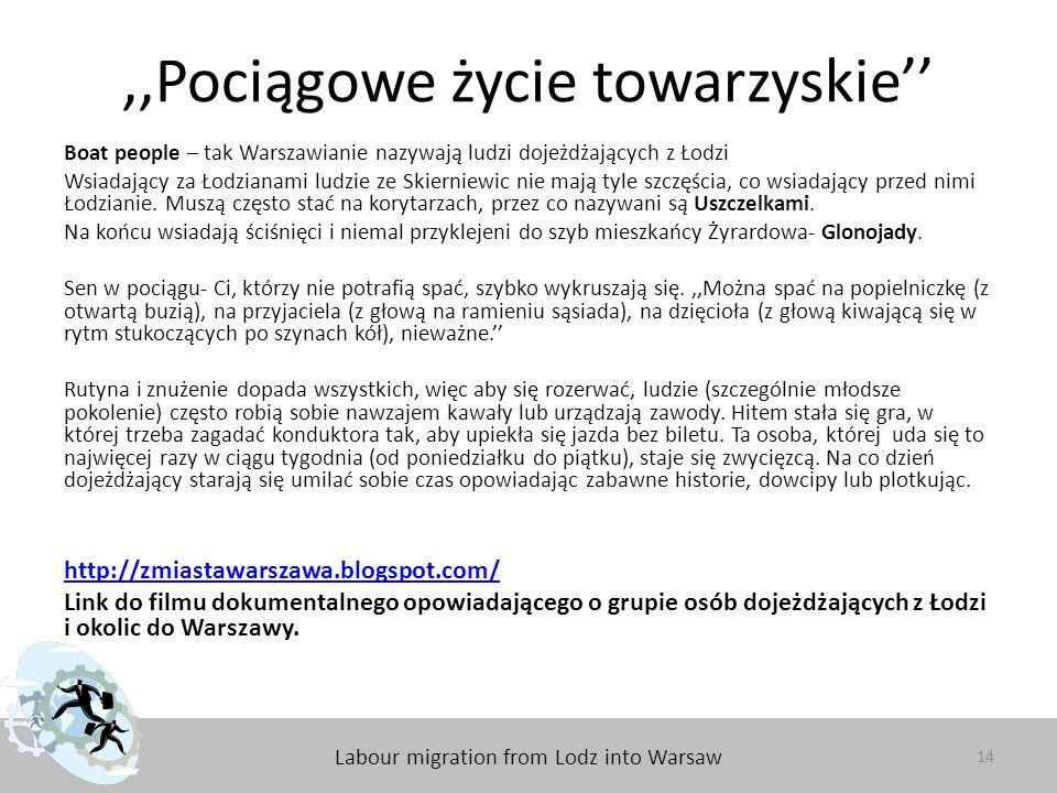 Labour migration from Lodz into Warsaw,,Pociągowe życie towarzyskie'' 14 Boat people – tak Warszawianie nazywają ludzi dojeżdżających z Łodzi Wsiadający za Łodzianami ludzie ze Skierniewic nie mają tyle szczęścia, co wsiadający przed nimi Łodzianie.