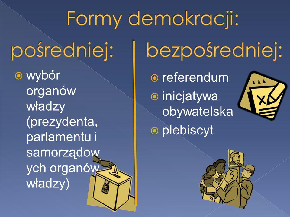  wybór organów władzy (prezydenta, parlamentu i samorządow ych organów władzy)  referendum  inicjatywa obywatelska  plebiscyt