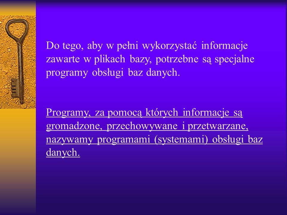 Do tego, aby w pełni wykorzystać informacje zawarte w plikach bazy, potrzebne są specjalne programy obsługi baz danych. Programy, za pomocą których in