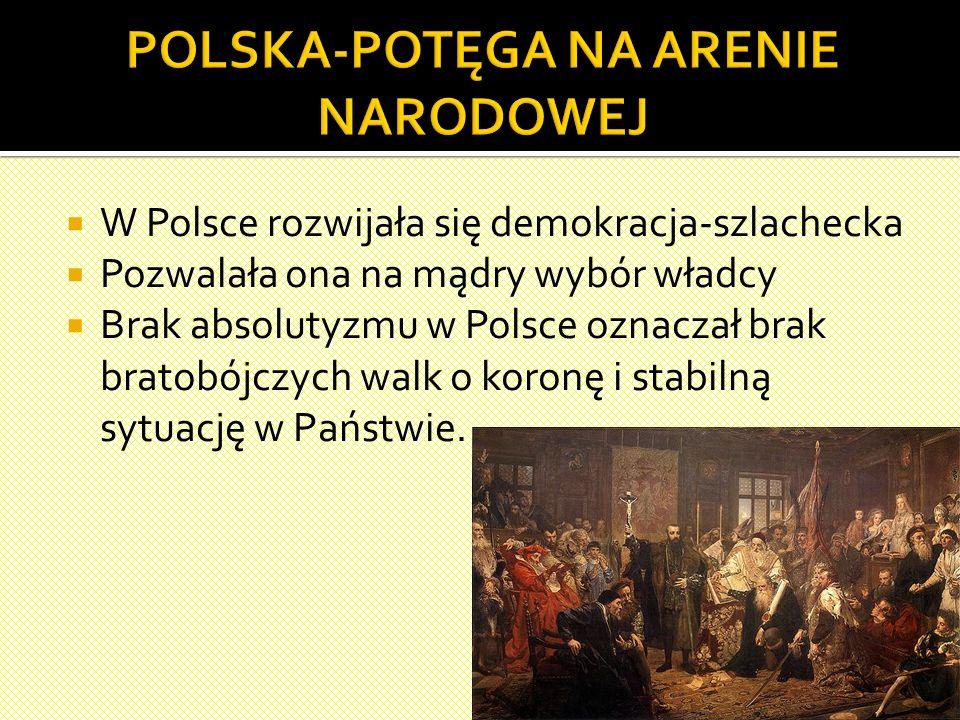  W Polsce rozwijała się demokracja-szlachecka  Pozwalała ona na mądry wybór władcy  Brak absolutyzmu w Polsce oznaczał brak bratobójczych walk o koronę i stabilną sytuację w Państwie.