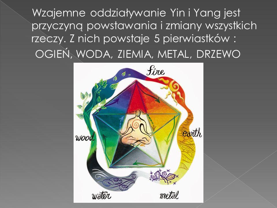 Wzajemne oddziaływanie Yin i Yang jest przyczyną powstawania i zmiany wszystkich rzeczy. Z nich powstaje 5 pierwiastków : OGIEŃ, WODA, ZIEMIA, METAL,