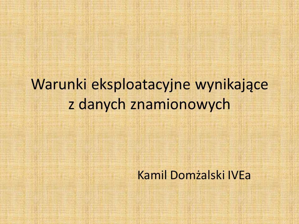 Warunki eksploatacyjne wynikające z danych znamionowych Kamil Domżalski IVEa