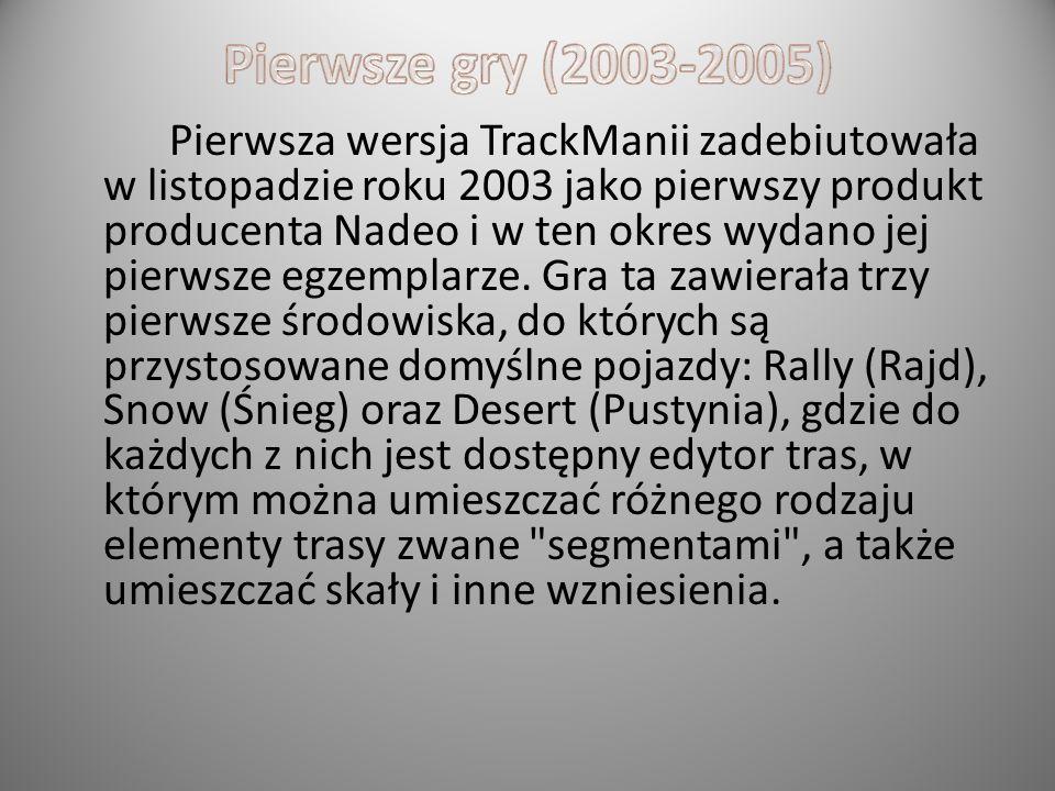 Trackmania – seria gier wyścigowych oferujących sztuczki kaskaderskie, budowę własnych tras, elementy gier logicznych oraz elementy zręcznościowe. Zos