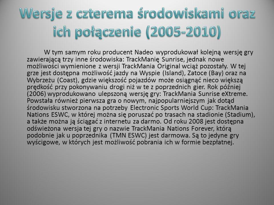 Pierwsza wersja TrackManii zadebiutowała w listopadzie roku 2003 jako pierwszy produkt producenta Nadeo i w ten okres wydano jej pierwsze egzemplarze.