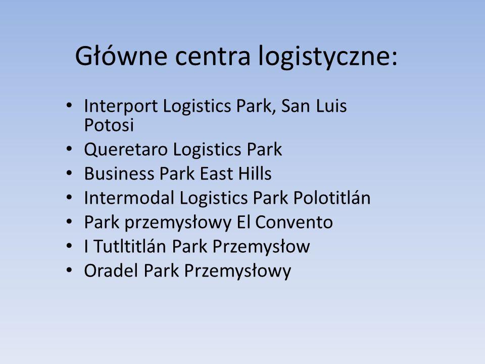 Główne centra logistyczne: Interport Logistics Park, San Luis Potosi Queretaro Logistics Park Business Park East Hills Intermodal Logistics Park Polot