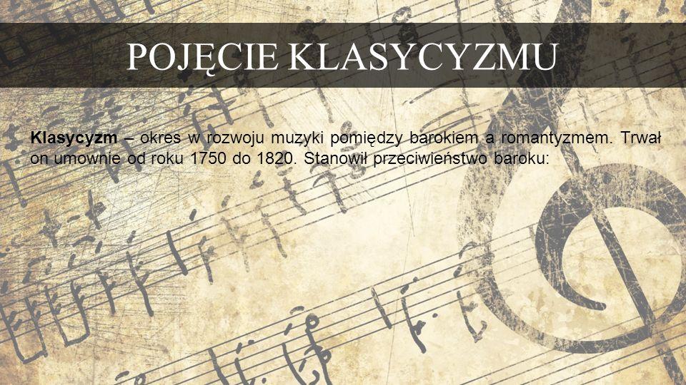POJĘCIE KLASYCYZMU Klasycyzm – okres w rozwoju muzyki pomiędzy barokiem a romantyzmem.