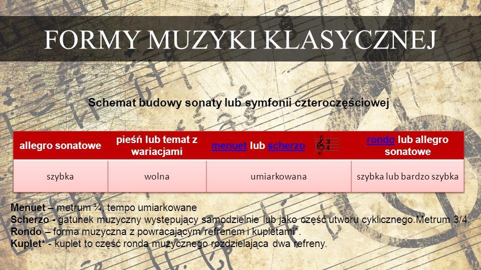 FORMY MUZYKI KLASYCZNEJ Schemat budowy sonaty lub symfonii czteroczęściowej Menuet – metrum ¾, tempo umiarkowane Scherzo - gatunek muzyczny występujący samodzielnie lub jako część utworu cyklicznego.Metrum 3/4.