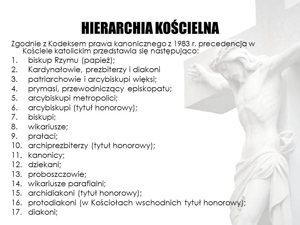 HIERARCHIA KOŚCIELNA Zgodnie z Kodeksem prawa kanonicznego z 1983 r. precedencja w Kościele katolickim przedstawia się następująco: 1.biskup Rzymu (pa