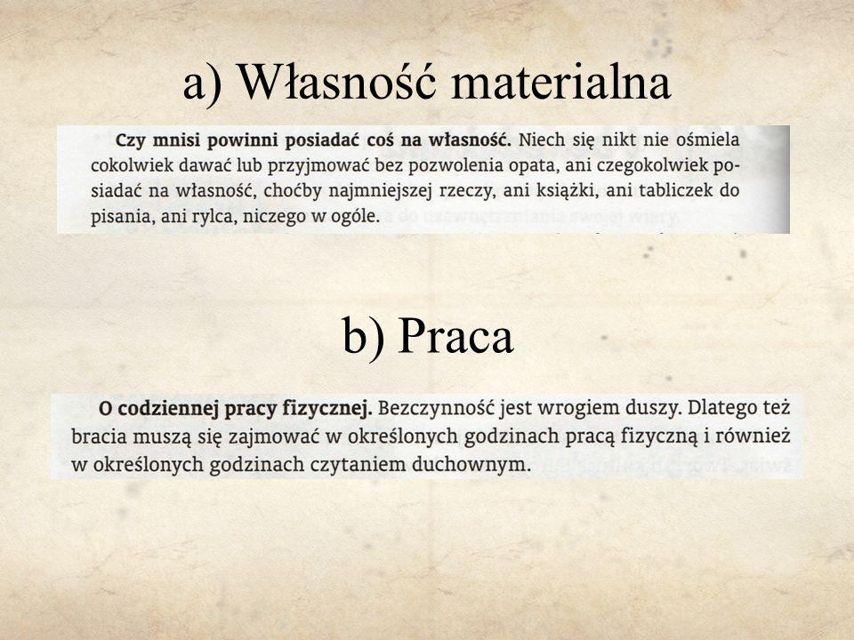 a) Własność materialna b) Praca