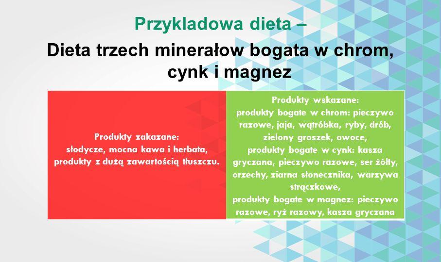 Przykladowa dieta – Dieta trzech minerałow bogata w chrom, cynk i magnez Produkty zakazane: słodycze, mocna kawa i herbata, produkty z dużą zawartości