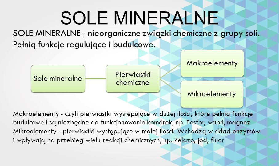 SOLE MINERALNE SOLE MINERALNE - nieorganiczne związki chemiczne z grupy soli. Pełnią funkcje regulujące i budulcowe. Sole mineralne Pierwiastki chemic