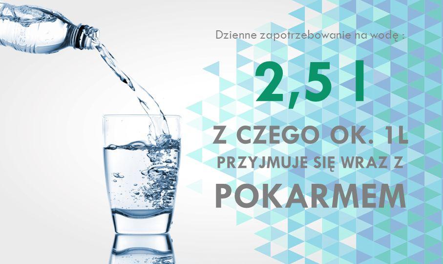 Dzienne zapotrzebowanie na wodę : 2,5 l Z CZEGO OK. 1L PRZYJMUJE SIĘ WRAZ Z POKARMEM