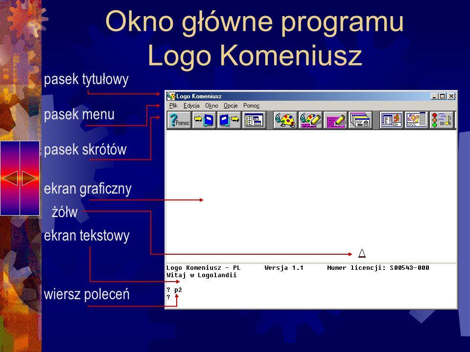 Logo Komeniusz –grafika żółwia W programie Logo Komeniusz polecenia wydajemy dla żółwia.
