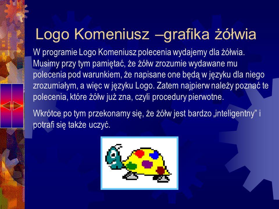 Logo Komeniusz –grafika żółwia Żółw wykonuje polecenia, wędrując po wydzielonej części ekranu, zwanej ekranem graficznym.