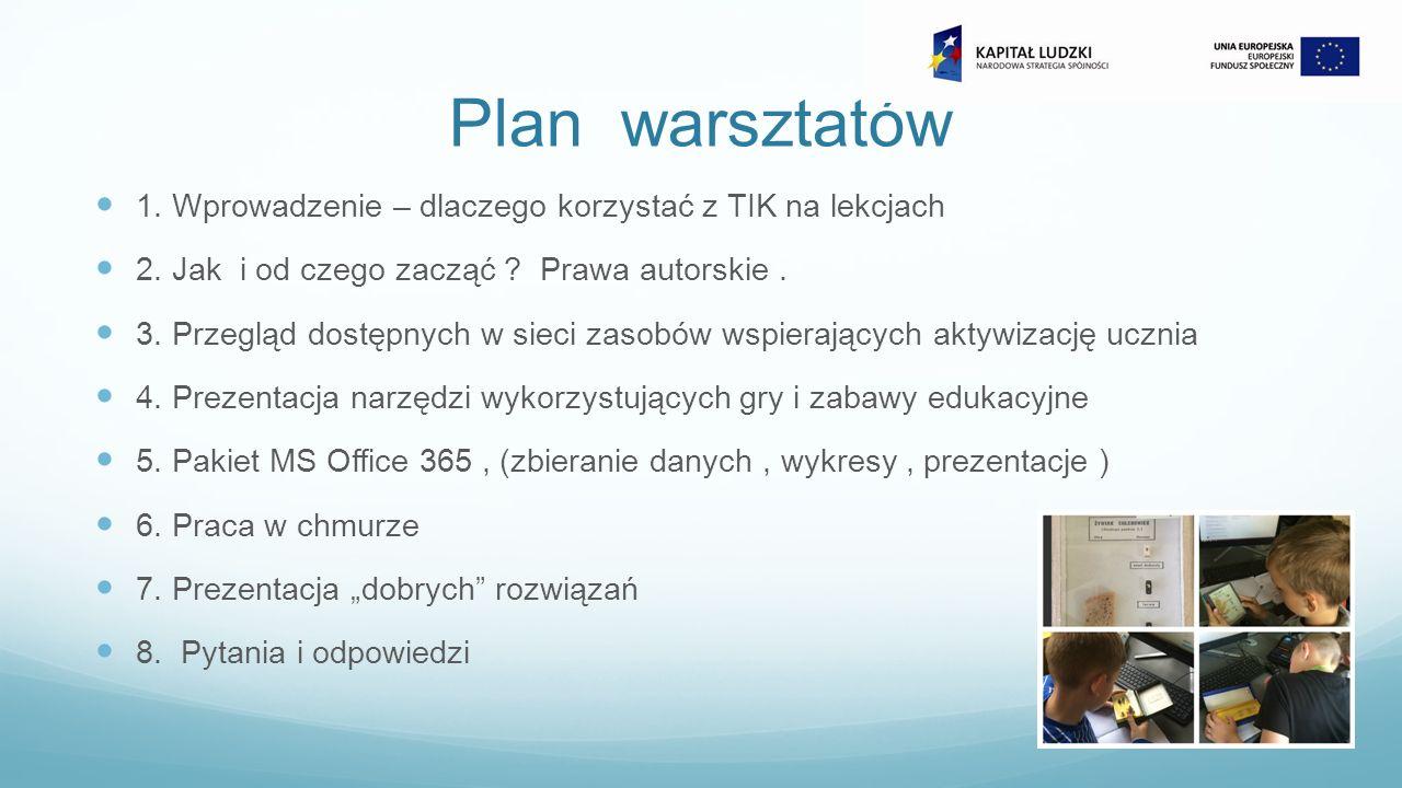 Plan warsztatów 1. Wprowadzenie – dlaczego korzystać z TIK na lekcjach 2.