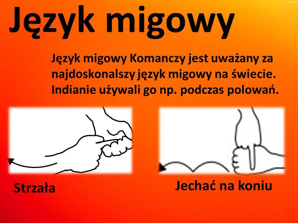 Język migowy Język migowy Komanczy jest uważany za najdoskonalszy język migowy na świecie. Indianie używali go np. podczas polowań. Strzała Jechać na