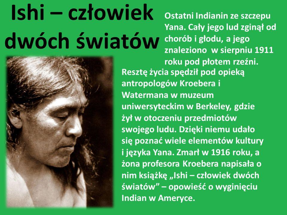Ishi – człowiek dwóch światów Ostatni Indianin ze szczepu Yana. Cały jego lud zginął od chorób i głodu, a jego znaleziono w sierpniu 1911 roku pod pło