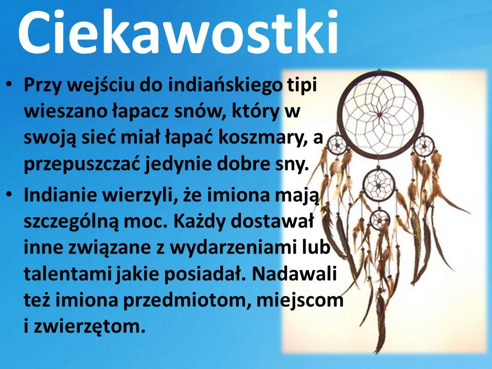 Ciekawostki Przy wejściu do indiańskiego tipi wieszano łapacz snów, który w swoją sieć miał łapać koszmary, a przepuszczać jedynie dobre sny. Indianie