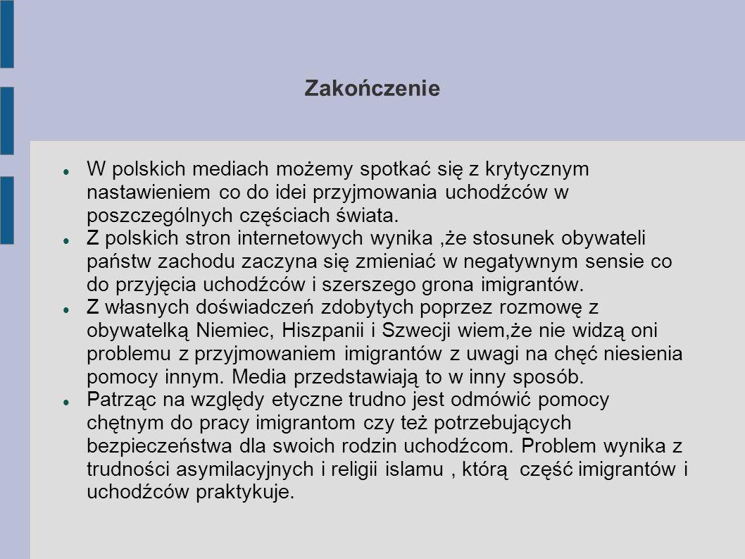 Zakończenie W polskich mediach możemy spotkać się z krytycznym nastawieniem co do idei przyjmowania uchodźców w poszczególnych częściach świata.