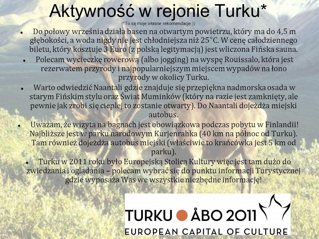 Aktywność w rejonie Turku* (*To są moje własne rekomendacje:)) Do połowy września działa basen na otwartym powietrzu, który ma do 4,5 m głębokości, a