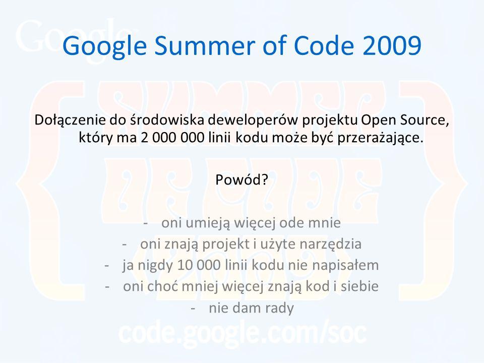Google Summer of Code 2009 Dołączenie do środowiska deweloperów projektu Open Source, który ma 2 000 000 linii kodu może być przerażające. Powód? -oni