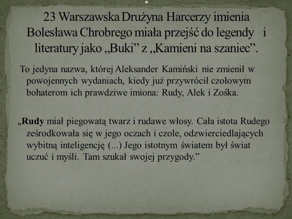 To jedyna nazwa, której Aleksander Kamiński nie zmienił w powojennych wydaniach, kiedy już przywrócił czołowym bohaterom ich prawdziwe imiona: Rudy, A