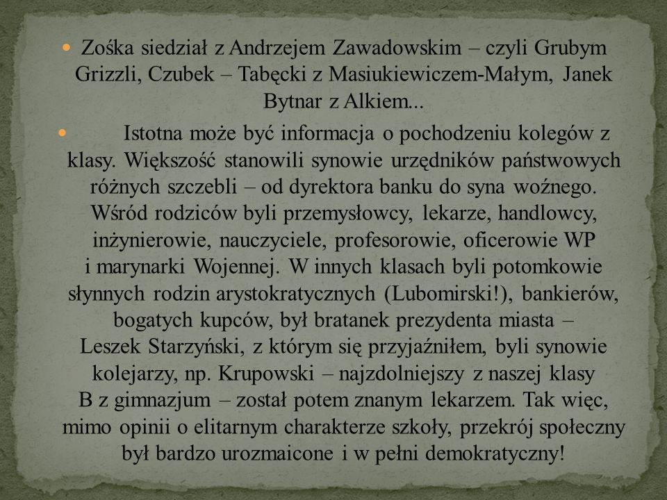 Zośka siedział z Andrzejem Zawadowskim – czyli Grubym Grizzli, Czubek – Tabęcki z Masiukiewiczem-Małym, Janek Bytnar z Alkiem... Istotna może być info