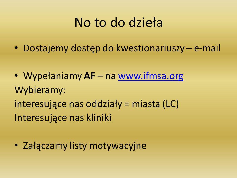 No to do dzieła Dostajemy dostęp do kwestionariuszy – e-mail Wypełaniamy AF – na www.ifmsa.orgwww.ifmsa.org Wybieramy: interesujące nas oddziały = mia