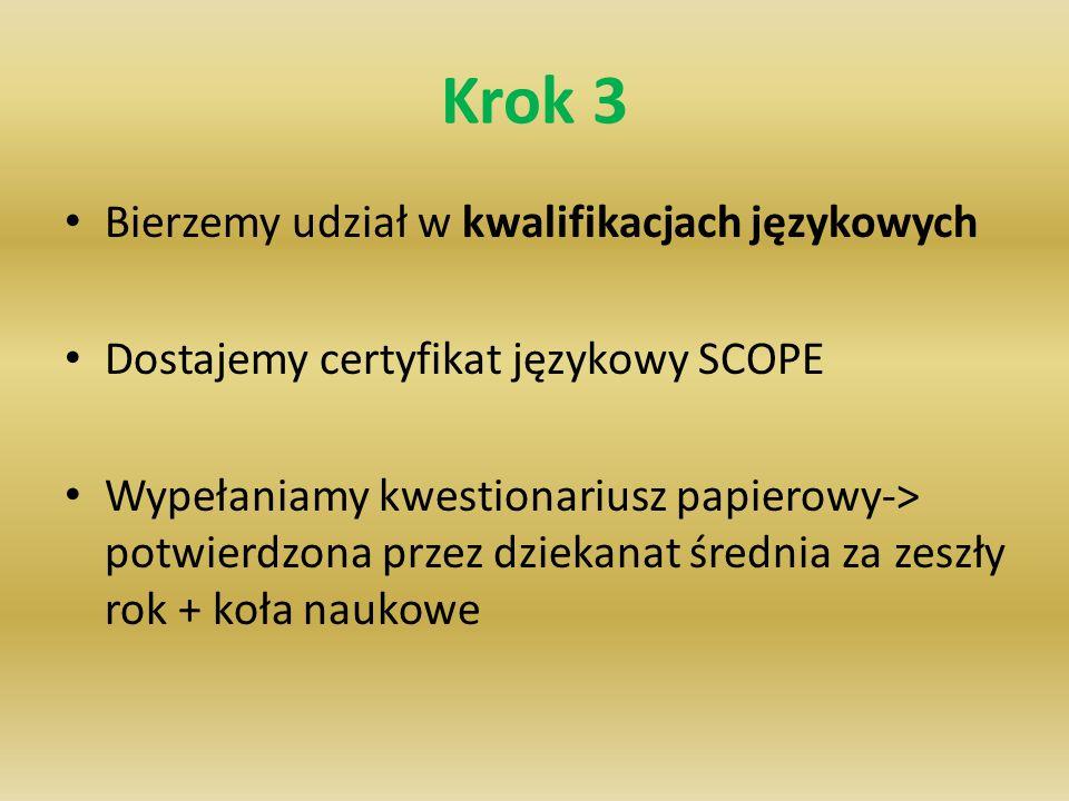 Krok 3 Bierzemy udział w kwalifikacjach językowych Dostajemy certyfikat językowy SCOPE Wypełaniamy kwestionariusz papierowy-> potwierdzona przez dziek