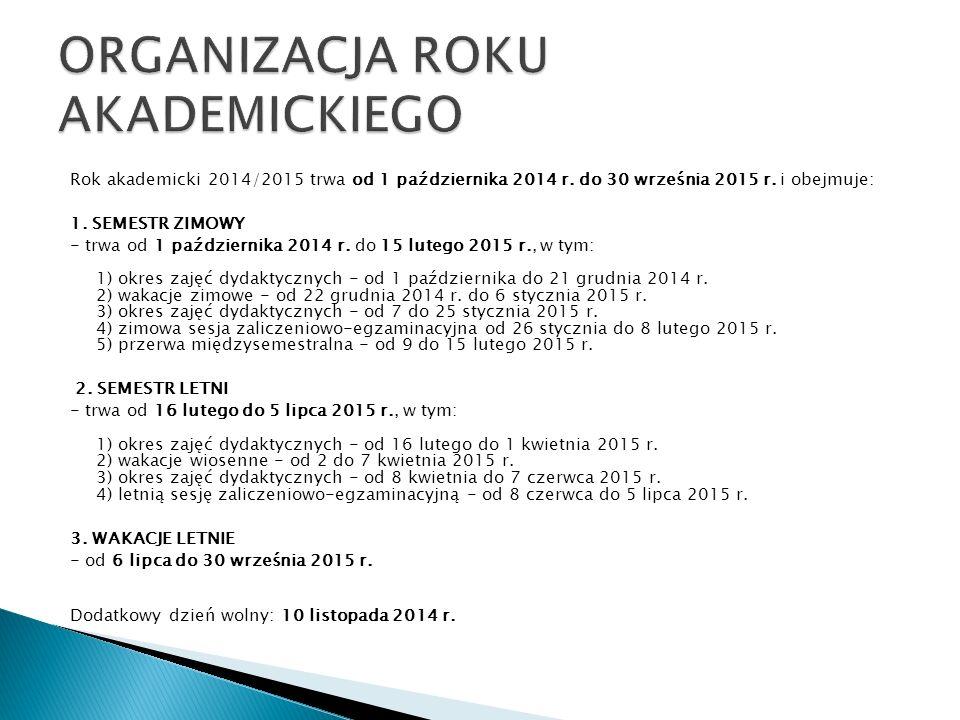 Rok akademicki 2014/2015 trwa od 1 października 2014 r.