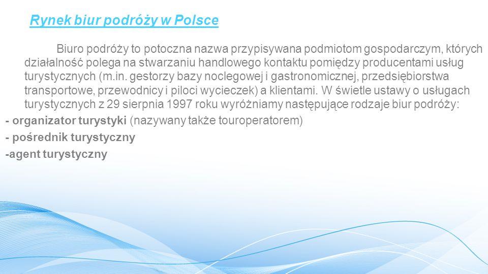 Rynek biur podróży w Polsce Biuro podróży to potoczna nazwa przypisywana podmiotom gospodarczym, których działalność polega na stwarzaniu handlowego kontaktu pomiędzy producentami usług turystycznych (m.in.