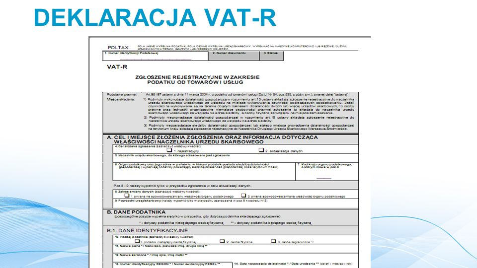 DEKLARACJA VAT-R