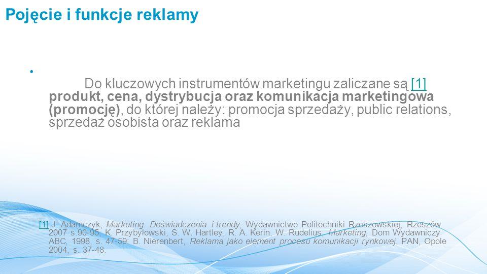 Pojęcie i funkcje reklamy Do kluczowych instrumentów marketingu zaliczane są [1] produkt, cena, dystrybucja oraz komunikacja marketingowa (promocję), do której należy: promocja sprzedaży, public relations, sprzedaż osobista oraz reklama[1] [1] J.