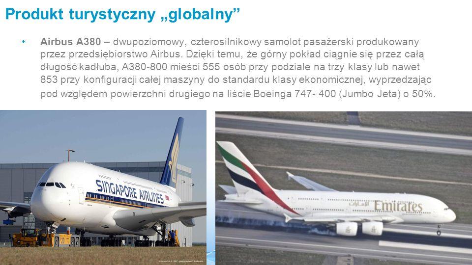 """Produkt turystyczny """"globalny Airbus A380 – dwupoziomowy, czterosilnikowy samolot pasażerski produkowany przez przedsiębiorstwo Airbus."""