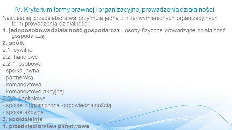 IV.Kryterium formy prawnej i organizacyjnej prowadzenia działalności.