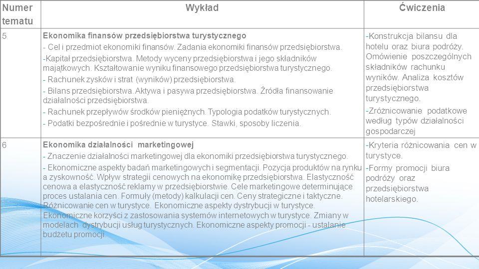 Numer tematu WykładĆwiczenia 5 Ekonomika finansów przedsiębiorstwa turystycznego - Cel i przedmiot ekonomiki finansów.