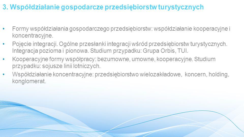 3. Współdziałanie gospodarcze przedsiębiorstw turystycznych Formy współdziałania gospodarczego przedsiębiorstw: współdziałanie kooperacyjne i koncentr