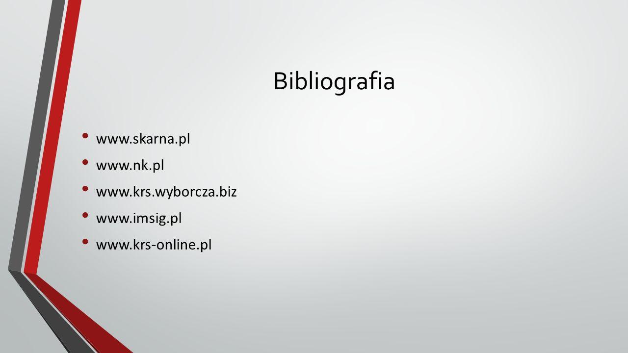 Bibliografia www.skarna.pl www.nk.pl www.krs.wyborcza.biz www.imsig.pl www.krs-online.pl