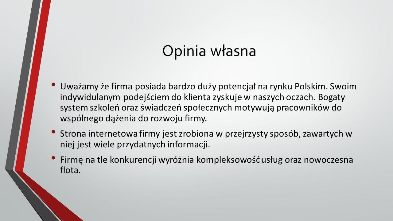 Opinia własna Uważamy że firma posiada bardzo duży potencjał na rynku Polskim.