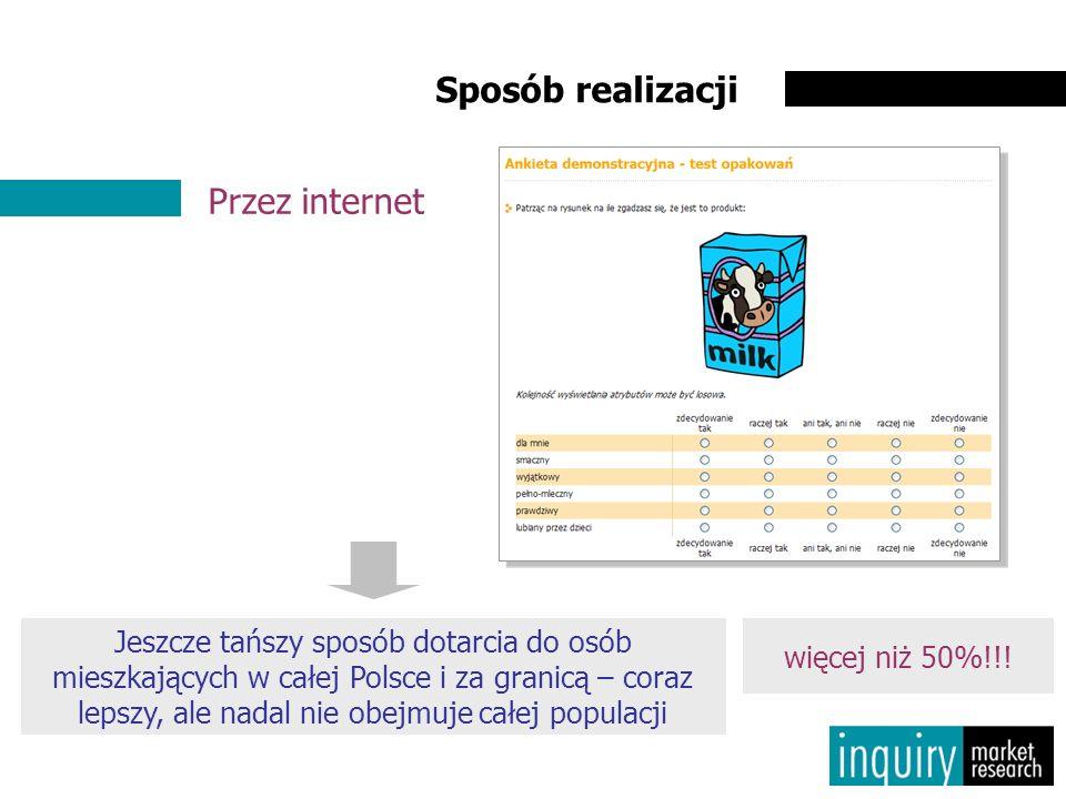 Sposób realizacji Przez internet Jeszcze tańszy sposób dotarcia do osób mieszkających w całej Polsce i za granicą – coraz lepszy, ale nadal nie obejmuje całej populacji więcej niż 50%!!!
