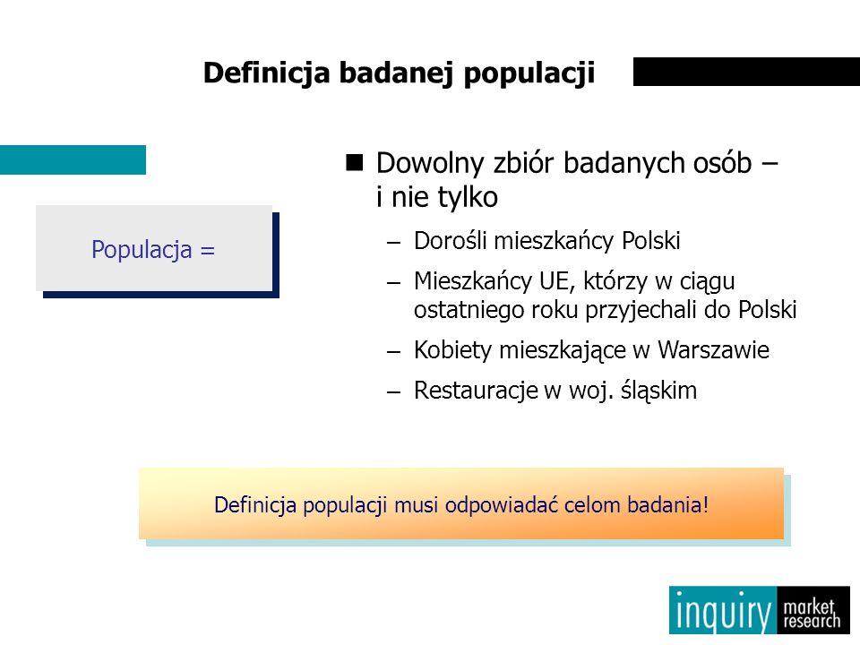 Populacja = Dowolny zbiór badanych osób – i nie tylko –Dorośli mieszkańcy Polski –Mieszkańcy UE, którzy w ciągu ostatniego roku przyjechali do Polski –Kobiety mieszkające w Warszawie –Restauracje w woj.