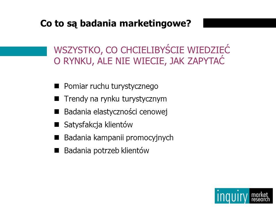 Co to są badania marketingowe? Pomiar ruchu turystycznego Trendy na rynku turystycznym Badania elastyczności cenowej Satysfakcja klientów Badania kamp