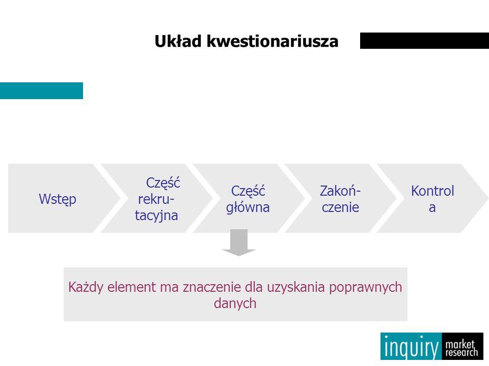 Układ kwestionariusza Każdy element ma znaczenie dla uzyskania poprawnych danych Wstęp Część rekru- tacyjna Część główna Zakoń- czenie Kontrol a