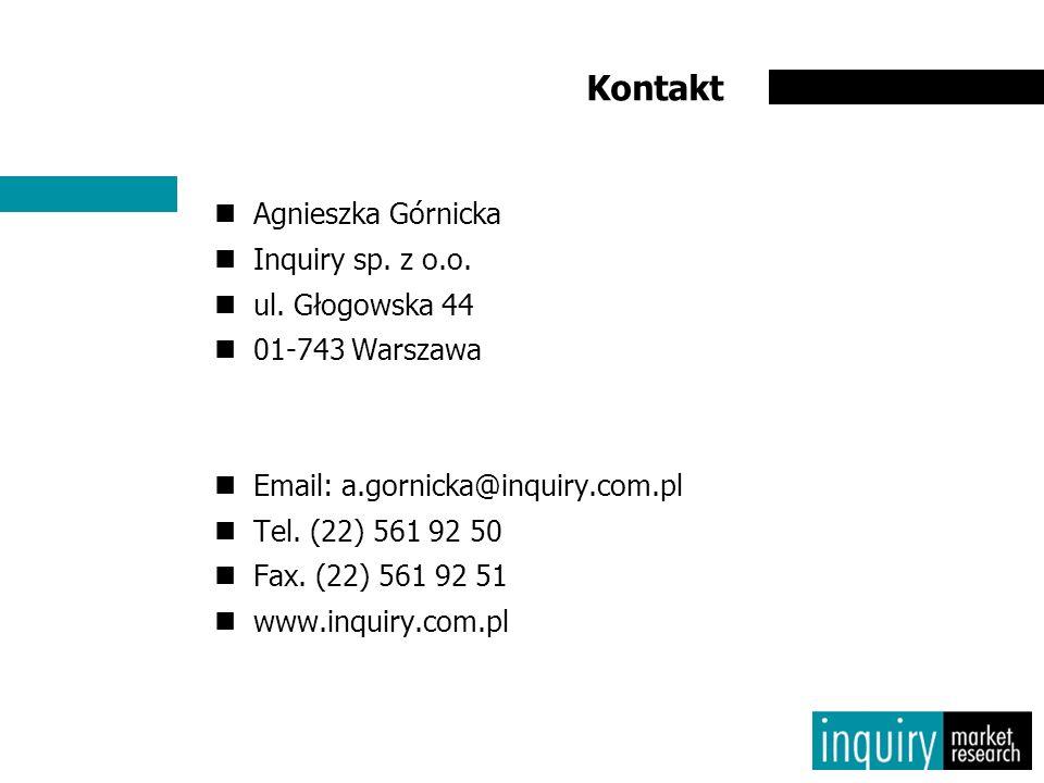 Kontakt Agnieszka Górnicka Inquiry sp. z o.o. ul. Głogowska 44 01-743 Warszawa Email: a.gornicka@inquiry.com.pl Tel. (22) 561 92 50 Fax. (22) 561 92 5