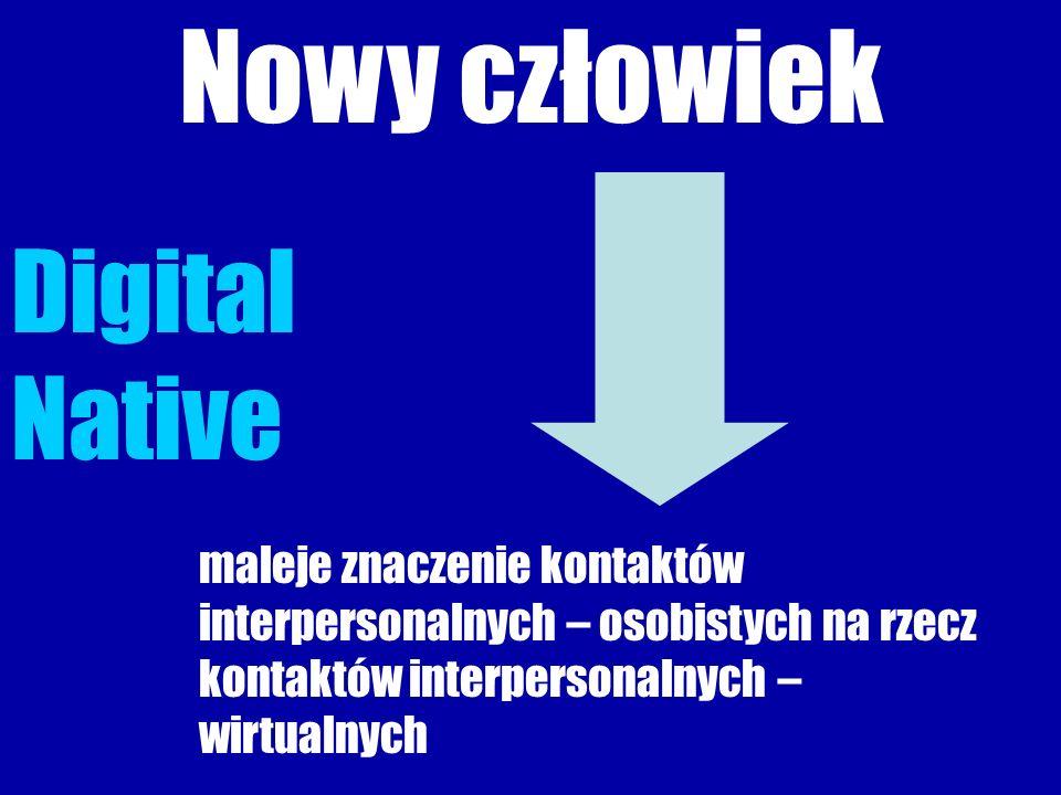 Nowy człowiek Digital Native maleje znaczenie kontaktów interpersonalnych – osobistych na rzecz kontaktów interpersonalnych – wirtualnych