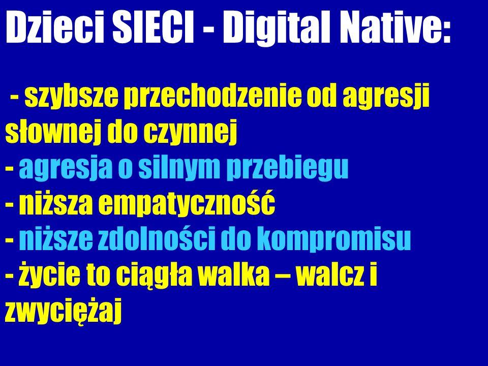 Dzieci SIECI - Digital Native: - szybsze przechodzenie od agresji słownej do czynnej - agresja o silnym przebiegu - niższa empatyczność - niższe zdolności do kompromisu - życie to ciągła walka – walcz i zwyciężaj