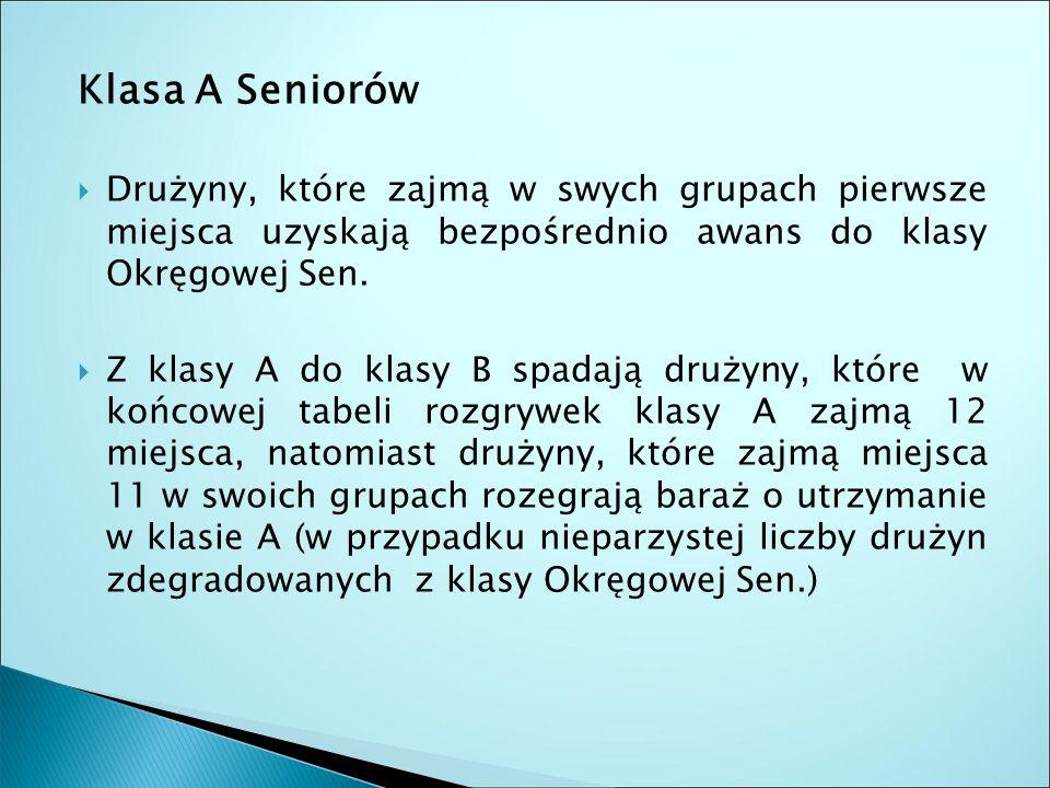 Klasa A Seniorów  Drużyny, które zajmą w swych grupach pierwsze miejsca uzyskają bezpośrednio awans do klasy Okręgowej Sen.